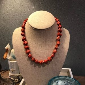 🦋 Retired Silpada Coral Nugget Necklace